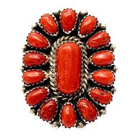 Vintage Native American Benny Touchine Sterling Silver Coral Petit Point Ring, Size 8