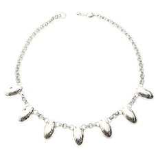 Artie Yellowhorse Sterling Silver Oval Dangle Necklace