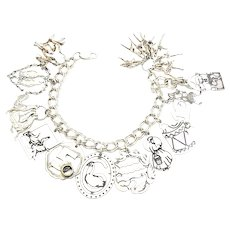 Vintage Sterling Silver 12 Days of Christmas Charm Bracelet
