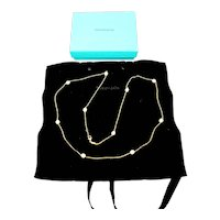 Tiffany & Co Elsa Peretti 18K Yellow Gold Pearls By The Yard Necklace with Pouch and Box