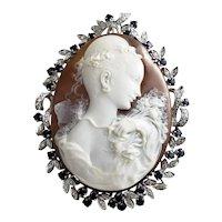 Vintage 18 Karat White Gold Diamond and Sapphire Cameo Brooch/Pendant