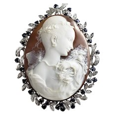 Vintage 18 Karat White Gold Diamond and Sapphire Cameo Brooch/Pendant