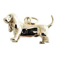 Vintage 8 Karat Yellow Gold Basset Hound Dog Charm