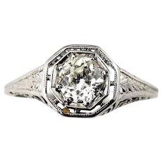 Vintage 14 Karat White Gold Diamond Engagement Ring Size 4.5