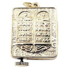 Vintage 14 Karat Yellow Gold Torah Judaica Ten Commandments Mechanical Music Box Charm