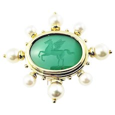 Vintage 18 Karat Yellow Gold Intaglio Green Onyx and Pearl Pegasus Brooch/Pin