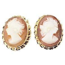 Vintage 14 Karat Yellow Gold Cameo Earrings