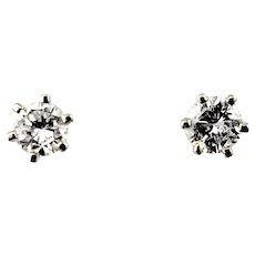 Vintage 14 Karat White Gold Diamond Stud Earrings