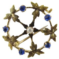 Antique 14K Yellow Gold and Sapphire and Seed Pearl Pin