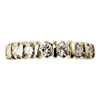 Vintage 14 Karat Yellow Gold and Diamond Wedding Band Size 4.25