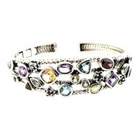 Sterling Silver Multi-Stone Hinged Cuff Bracelet