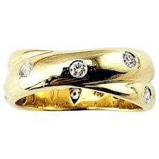 Vintage Tiffany & Co Etoile Criss Cross 18 Karat Yellow Gold/Platinum and Diamond Band Ring Size 5