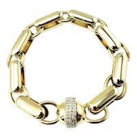 Vintage Baraka 14 Karat White Gold and Diamond Link Bracelet