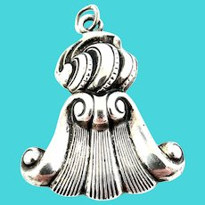 Vintage Wallace Sterling Silver Romance of the Sea Shell Tassel Pendant