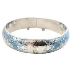 Thailand Sterling Silver Niello Blue Enamel Hinged Bangle Bracelet