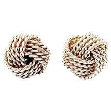 Tiffany & Co Sterling Silver Twist Knot Earrings (A)