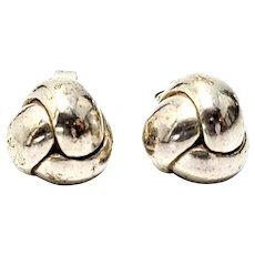 Tiffany & Co Sterling Silver Twist  Love Knot Ball Stud Earrings