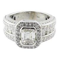 Vintage 14K White Gold Emerald Cut Diamond Halo Band Ring 2cts. Size 7.25