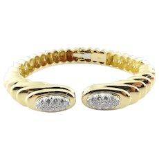 Vintage 18K Yellow Gold Pave Diamond Hinged Cuff Bangle Bracelet