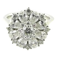 Vintage 14K White Gold Pear and Round Circle of Diamonds Ring Size 6.75