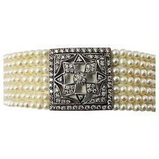 Vintage 18 Karat Yellow Gold Pearl and Diamond Bracelet