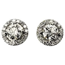 Vintage 14 Karat White Gold Diamond Halo Earrings