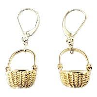 Vintage 14 Karat Yellow Gold Nantucket Basket Earrings