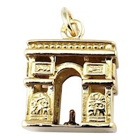 Vintage 14 Karat Yellow Gold  Paris Arc De Triomphe Charm