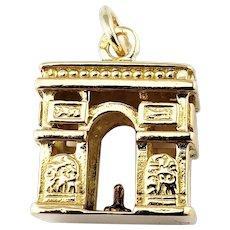 Vintage 14 Karat Yellow Gold  Paris Arc De Triomphe Charm