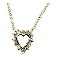 Vintage 14 Karat Yellow Gold Diamond Heart Pendant Necklace