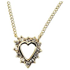 Vintage 14 Karat Yellow Gold Diamond Heart Pendant Necklace