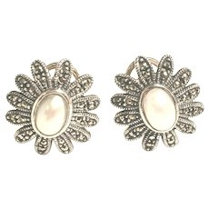 Judith Jack Sterling Silver Marcasite and Pearl Daisy Earrings