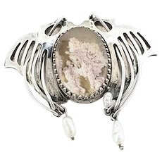 Handmade Artisan Sterling Silver Laguna Lace Agate and Pearl Wing Slide Pendant