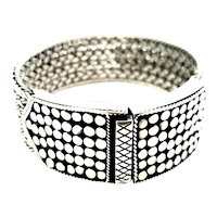 Sterling Silver Woven Bracelet with Dot Buckle Clasp