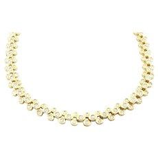 "Vintage 18K Yellow Gold 3 Row Bezel Set Diamond Necklace 18"" 9.7cts."