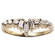 Vintage 14 Karat Yellow Gold and Diamond Ring Size 4.25