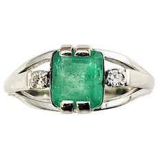 Vintage 14 Karat White Gold Emerald and Diamond Ring Size 5