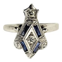 Vintage 14 Karat White Gold Diamond and Sapphire Ring Size 6