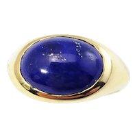Vintage 14 Karat Yellow Gold and Lapis Lazuli Ring Size 7.5