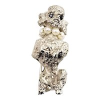 Vintage 14 Karat White Gold, Pearl and Sapphire Poodle Brooch/Pin