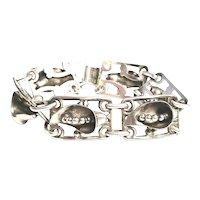 Vintage Sterling Silver Calla Lily Panel Link Bracelet