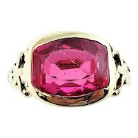 Vintage 14 Karat Yellow Gold Simulated Ruby Ring Size 3.5