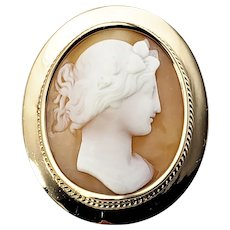 Vintage 14 Karat Yellow Gold Cameo Brooch/Pin