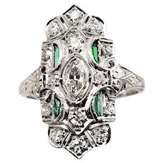 Vintage Platinum Diamond and Emerald Ring Size 7