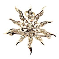 Vintage 10 Karat Seed Pearl and Diamond Brooch/Pendant