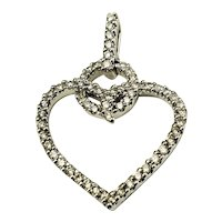 Vintage 10 Karat White Gold Diamond Heart Pendant
