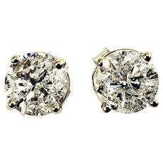Vintage 14 Karat White Gold Diamond Stud Earrings 1.30 TCW.