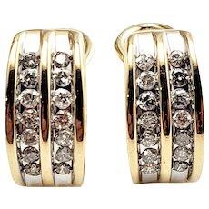Vintage 14 Karat Yellow Gold and Diamond Clip On Earrings