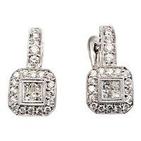 Vintage 14 Karat White Gold and Diamond Earrings