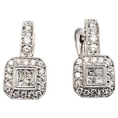 Vintage 14 Karat White Gold and Diamond Earrings